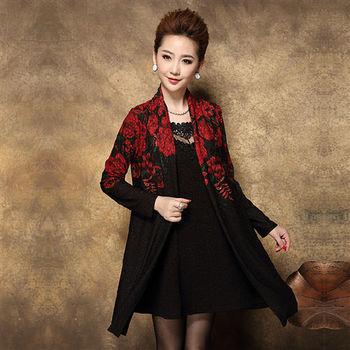 【糖潮】時尚紅花刺繡長袖連衣裙套裝