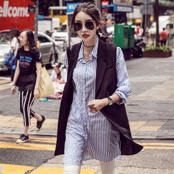 【理子時尚】韓風無袖西裝長版背心