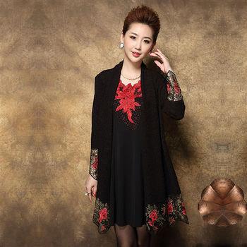 【糖潮】時尚鏤空刺繡花朵長袖連衣裙兩件套
