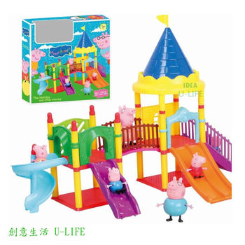 [創意生活U-LIFE]  粉紅豬小妹兒童溜滑梯樂園
