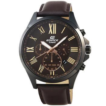 CASIO 卡西歐EDIFICE大錶徑三眼計時皮帶錶-深棕 / EFV-500BL-1A