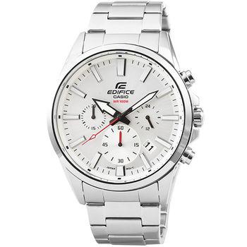 CASIO 卡西歐EDIFICE大錶徑三眼計時錶-銀 / EFV-510D-7A