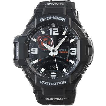 CASIO 卡西歐G-SHOCK 雙顯重機鬧鈴電子錶-黑 / GA-1000-1A