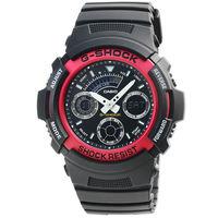 CASIO 卡西歐G ^#45 SHOCK 雙顯鬧鈴電子錶 ^#45 黑紅 ^#47 AW