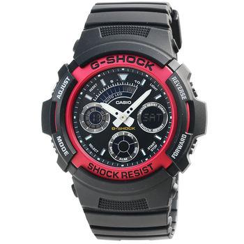 CASIO 卡西歐G-SHOCK 雙顯鬧鈴電子錶-黑紅 / AW-591-4A