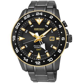 SEIKO 精工 Sportura GMT 二地時間人動電能黑潮腕錶/44mm/5M85-0AA0SD(SUN026J1)