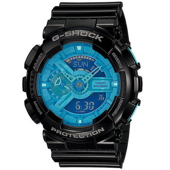 CASIO G-SHOCK 重金黑藍潮流雙顯運動腕錶-GA-110B-1A2