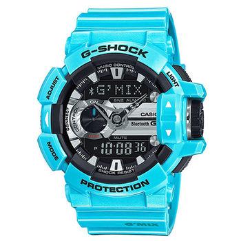 CASIO G-SHOCK MIX玩酷音樂藍芽控制時尚錶-閃電藍/51.9mm/GBA-400-2C