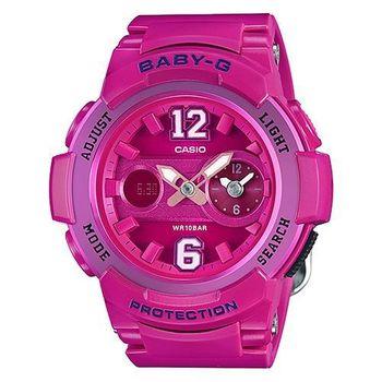 【CASIO】Baby-G 球衣風潮 卡通撞色數字潮流腕錶-亮桃紅/46mm(BGA-210-4B2)