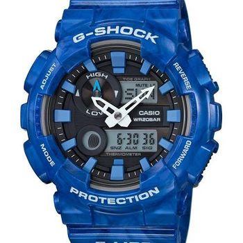 【CASIO G-SHOCK】全新專屬衝浪潮汐功能雙顯腕錶(藍 GAX-100MA-2ADR)