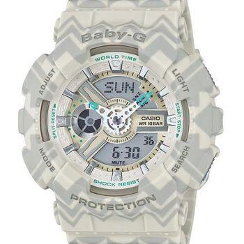 【CASIO BABY-G】波西米亞民俗風圖騰時尚腕錶(灰 BA-110TP-8ADR)