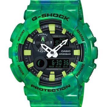 【CASIO G-SHOCK】全新專屬衝浪潮汐功能雙顯腕錶(綠 GAX-100MB-3ADR)
