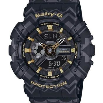 【CASIO BABY-G】波西米亞民俗風圖騰時尚錶(黑 BA-110TP-1ADR)