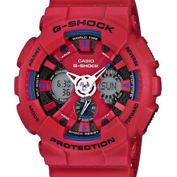 【CASIO】G-SHOCK 極限競速 儀表板設計三眼雙顯運動腕錶-紅(GA-120TR-4A)