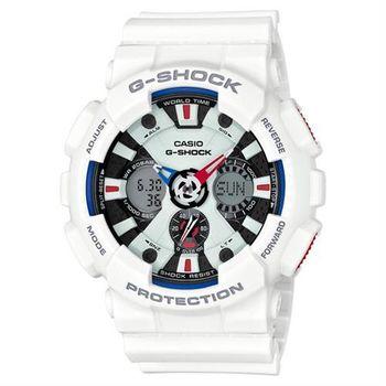 【CASIO】G-SHOCK 極限競速 儀表板設計三眼雙顯運動腕錶-白(GA-120TR-7A)