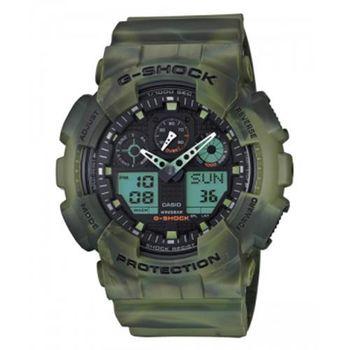 【CASIO】G-SHOCK 煙霧迷彩雙顯帥氣潮流腕錶-軍綠(GA-100MM-3A)