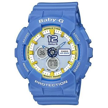 【CASIO 卡西歐】BABY-G 少女時代 多層次運動電子錶-藍(BA-120-2B)