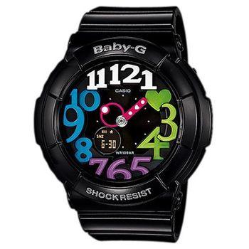 【CASIO 卡西歐】Baby-G超人氣霓虹立體層次3D時刻繽紛錶-黑彩(BGA-131-1B2)