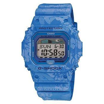 【CASIO 卡西歐】G-SHOCK 炎夏衝浪 扶桑花潮汐腕錶-藍(GLX-5600F-2)