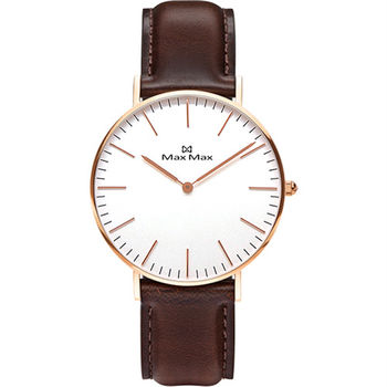 【MAX MAX】歐美極簡風質感真皮錶帶中性腕錶-36mm (MAS7011-12)
