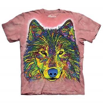 【摩達客】(預購)美國進口The Mountain 彩繪狼 純棉環保短袖T恤