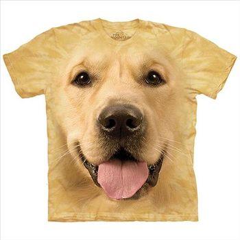 【摩達客】(預購) (男/女童裝)美國進口The Mountain 大黃金獵犬臉 純棉環保短袖T恤