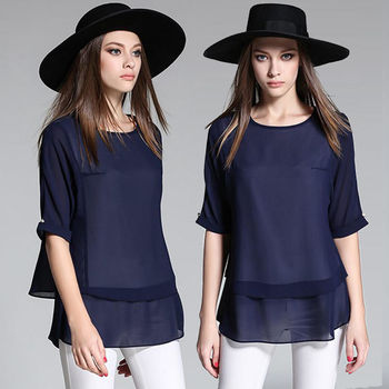 【麗質達人中大碼】藍色雪紡上衣(XL-5XL)