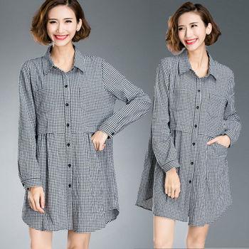 【麗質達人中大碼】長袖格紋長衣裙(XL-5XL)