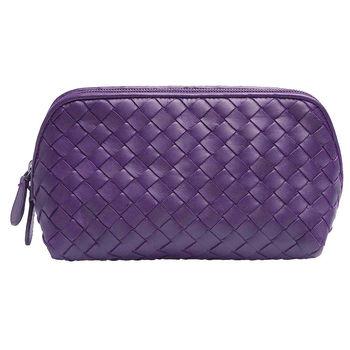 BOTTEGA VENETA 經典編織小羊皮拉鍊萬用化妝包(大-紫色)