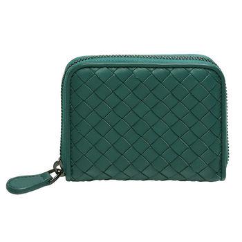 BOTTEGA VENETA 經典編織小羊皮多夾層萬用零錢包(大-青波綠)