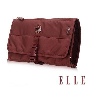 【ELLE】法式優雅時尚 旅行掛勾盥洗包/收納包/化妝包(酒紅 EL82351-80)
