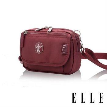 【ELLE】法式優雅時尚 旅行隨身收納包/票券包/手機包(酒紅 EL83472-80)