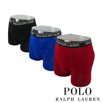 《Polo》Polo Ralph Lauren 經典純棉四角男內褲-3入組(藍黑紅)