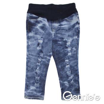 【Gennie's奇妮】水洗紋刷色抓破造型孕婦牛仔七分褲-藍 (G4118)