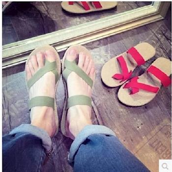 【協貿國際】情侶款亞麻拖鞋男女沙灘鞋套趾羅馬拖鞋 1雙