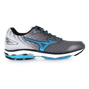 【MIZUNO】WAVE RIDER 19 男慢跑鞋-慢跑 路跑 美津濃 灰水藍