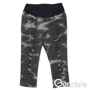 【Gennie's奇妮】水洗紋刷色抓破造型孕婦牛仔七分褲-黑 (G4118)
