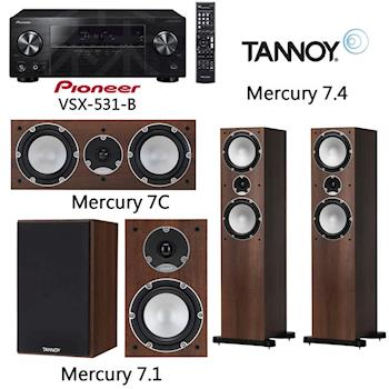 【Pioneer+TANNOY】5.1聲道擴大機+5聲道劇院喇叭(VSX-531-B+Mercury 7.1+Mercury 7.4+ Mercury 7C)