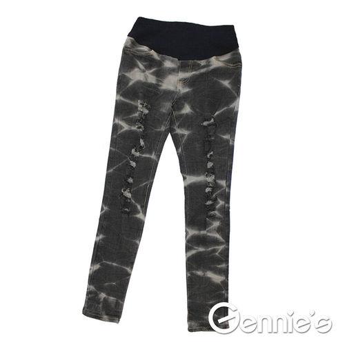 【Gennie's奇妮】水洗紋刷色抓破造型孕婦牛仔貼腿褲-黑 (G4119)