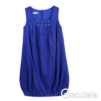 【Gennie's奇妮】寶石綴領質感花苞春夏孕婦洋裝-藍(G1151)