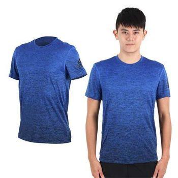 【ADIDAS】男短袖上衣-T恤 慢跑 路跑 愛迪達 麻花藍