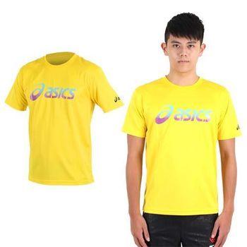 【ASICS】男運動排汗短袖T恤- 慢跑 路跑 亞瑟士 黃藍紫