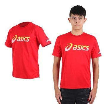 【ASICS】男運動排汗短袖T恤- 慢跑 路跑 亞瑟士 紅黃