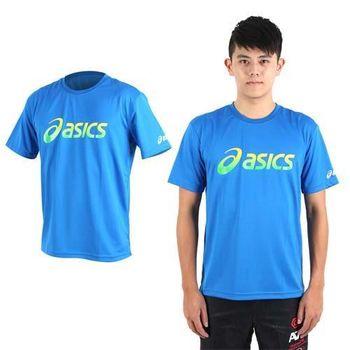 【ASICS】男運動排汗短袖T恤- 慢跑 路跑 亞瑟士 藍黃綠