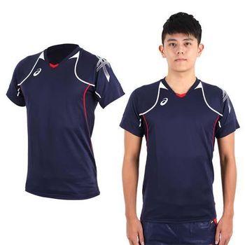 【ASICS】男短袖排球練習T恤- 路跑 慢跑 亞瑟士 丈青紅白