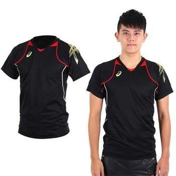 【ASICS】男短袖排球練習T恤- 路跑 慢跑 亞瑟士 黑紅金