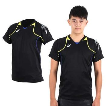 【ASICS】男短袖排球練習T恤- 路跑 慢跑 亞瑟士 黑黃銀