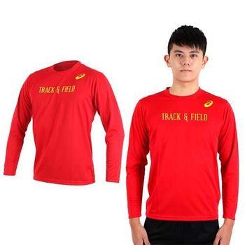 【ASICS】男長袖印花T恤- 慢跑 路跑 亞瑟士 紅黃