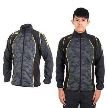 【MIZUNO】男平織運動外套- 慢跑 路跑 防撥水 美津濃 立領 黑灰黃