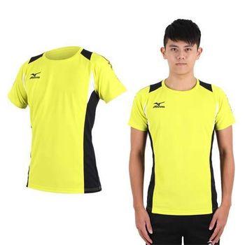 【MIZUNO】男排球短袖上衣- T恤 路跑 慢跑 亞瑟士 黃黑
